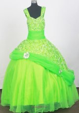 2013 Elegant Spring Dreen Zipper-up Little Girl Pageant Dresses With Beading