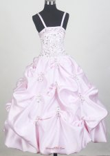 Beaded Decorate Bodice and Pick-ups For Baby Pink Little Girl Pageant Dresses  Pageant Dresses