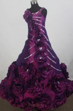 Purple and Hand Made Flowers For Custom Made Little Girl Pageant Dresses  Pageant Dresses