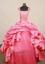 Fashionable Little Girl Pageant Dress Beaded Decorate Bust Square Neck Hot pink Taffeta   Pageant Dresses