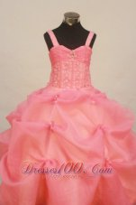 2013 Custom Made Watermelon Little Girl Pageant Dress Straps With Pick-ups Organza