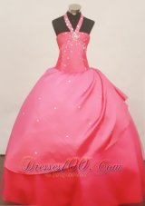 Stylish Halter Coral Red 2013 Little Girl Pageant Dress Floor-Length Taffeta  Pageant Dresses