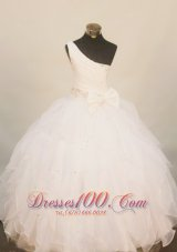 Lovely One Shoulder Little Girl Pageant Dress Floor-Length Beading White In 2013  Pageant Dresses