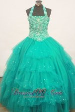 Beaded Decorate Bust Turquoise Little Girl Pageant Dress Halter Top With Ruffled Layeres  Pageant Dresses