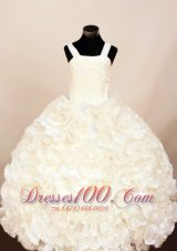 Exquisite White Ruffles Little Girl Pageant Dress Ball Gown With Strap Floor-Length Organza