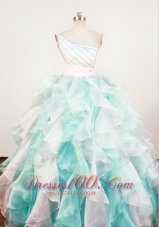 Gorgeous A-Line Beaded Decorate Shoulder Multi-color Organza Beading Little Girl Pageant Dresses  Pageant Dresses