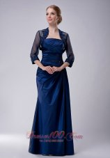2013 Custom Made Navy Blue Column Strapless Mother Of The Bride Dress Taffeta Appliques Floor-length