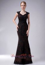 2013 Custom Made Brown Mermaid V-neck Mother Of The Bride Dress Taffeta Appliques Floor-length