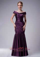Elegant Custom Made Dark Purple Mermaid Off The Shoulder Mother Of The Bride Dress Taffeta Ruch Floor-length