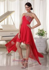 2013 Red Chiffon High-low Homcoming / Cocktail Dress With Beading Decorate Strapless and Ruch