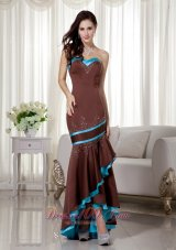2013 Brown and Blue Mermaid Sweetheart Satin Prom Dress with Asymmetrical Beading
