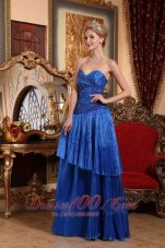 2013 Royal Blue Column / Sheath Sweetheart Floor-length Organza Appliques Prom Dress
