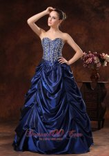 2013 Bloomington Beaded Decorate Bodice Pick-ups A-line Floor-length Navy Blue Prom / Evening Dress For 2013