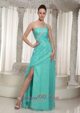 2013 Customize Turquoise High Slit Prom Dress For Party 2013