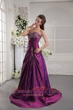 2013 Purple A-line / Princess Sweetheart Brush Train Taffeta Embroidery and Ruch Prom / Graduation Dress