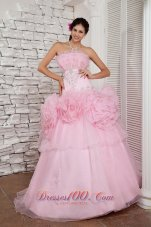 2013 Simple Baby Pink Prom Dress A-line Strapless Organza Beading Floor-length