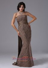 2013 Lace Mermaid Strapless and Watteau Train For Modest Prom Dress