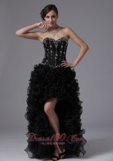 2013 Sacramento California City Black High-low Beaded Bodice and Ruffles For Sweet Prom Dress Sweetheart
