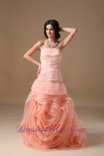 2013 Customize Watermelon Red A-line Strapless Wedding Dress Organza Hand Made Flower Brush Train