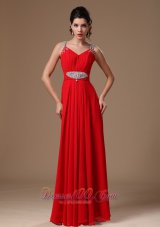 Best Red Beaded Decorate Shoulder Customize Empire 2013 New Style Evening Dress In Tuscaloosa Alabama