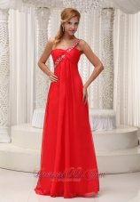 Clearence Beaded Decorate One Shoulder Red Chiffon Floor-length For 2013 Prom Dress