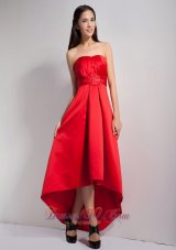 Lovely Red A-line Strapless Appliques Bridesmaid Dress High-low Satin