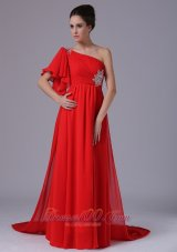 Plus Size Chiffon One Shoulder Beading Red Watteau 2013 Evening Dress