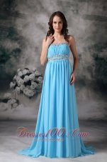 Plus Size Customize Baby Blue Empire Strapless Prom / Evening Dress Chiffon Beading Brush Train