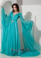 Plus Size Fashionable Empire V-neck Court Train Chiffon Beading Prom / Party Dress