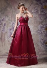 Plus Size Formal Burgundy A-line Sweethear Prom Dress Taffeta and Organza Beading
