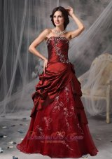 Plus Size Beautiful Burgundy A-Line / Princess Strapless Quinceanera Dress Taffeta Appliques Floor-length