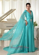 Plus Size Long Sleeves V-neck Turquoise Chiffon Wonderful Prom Dress With Appliques and Beading