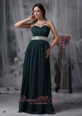 Plus Size Exquisite Dark Green Prom / Evening Dress Empire Sweetheart Chiffon Belt Brush Train
