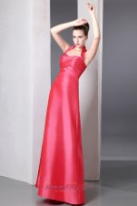 Designer Coral Red Column Halter Ruch Bridesmaid Dress Ankle-length Taffeta