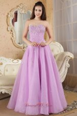 Designer Lavender A-line Sweetheart Prom / Evening Dress Organza Beading Floor-length