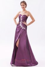 Designer Dark Purple A-line / Princess Sweetheart Prom Dress Beading Brush Train Taffeta