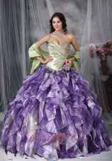 New Colorful Ball Gown Sweetheart Floor-length Taffeta and Organza Beading and Ruffles Quinceanea Dress
