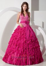 New Hot Pink Ball Gown Halter Floor-length Chiffon Embroidery Quinceanera Dress