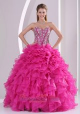 New Deep Pink Ruffles Ball Gown Sweetheart Beaded Decorate Quinceanera Gowns in Sweet 16