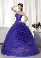 New Purple Ball Gown Sweetheart Floor-length Organza Beading and Ruch Quinceanera Dress