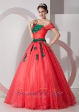 New Pretty Coral Red Princess Off The Shoulder Prom Dress Organza Appliques