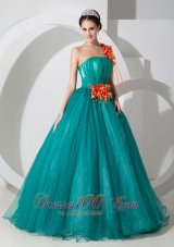New Custom Made Teal A-line One Shoulder Quinceanera Dress Organza Hand Made Flowers