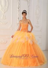 New Beautiful Orange Quinceanera Dress Sweetheart Satin and Tulle Beading A-Line / Princess
