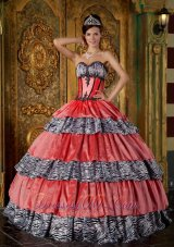 New Luxurious Ball Gown Sweetheart Floor-length Zebra Ruffles Quinceanera Dress