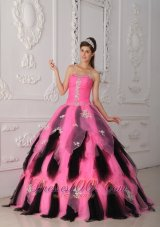 New Pink and Black A-Line / Princess Strapless Floor-length Organza Appliques Quinceanera Dress