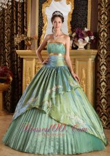 New Discount Lemon Green Quinceanera Dress Strapless Taffeta and Organza Appliques Ball Gown