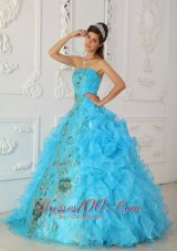 New Exquisite Aqua Blue Quinceanera Dress Strapless Embroidery Ball Gown