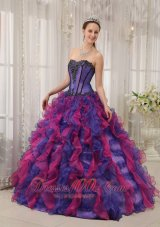 New Classical Multi-colored Quinceanera Dress Sweetheart Organza Appliques Ball Gown Ruffled Quinceanera Dress Multi-colored