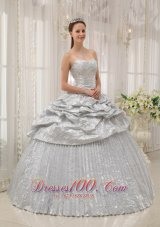 New Brand New Silver Quinceanera Dress Sweetheart Appliques Ball Gown