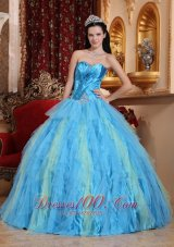 New Romantic Aqua Blue Quinceanera Dress Sweetheart Tulle Beading Ball Gown